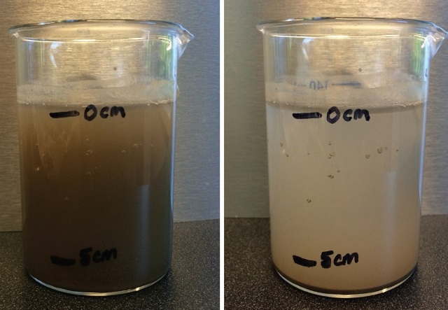 Finely ground geological samples are dispersed in water via sonication (left). The bulk and clay mineral fractions are divided by gravimetric separation (right), and the clay minerals are collected by decanting. The markings on the beaker are for tracking the progress of separations.