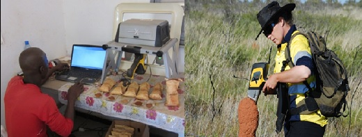 Olympus portable XRF devices being used for gold exploration