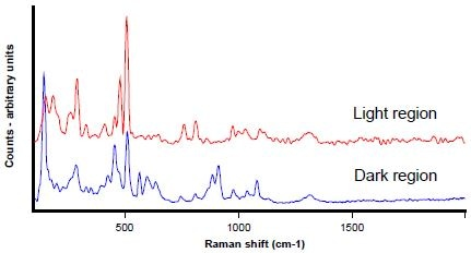 Raman spectra from the dark (blue) and light regions (red)