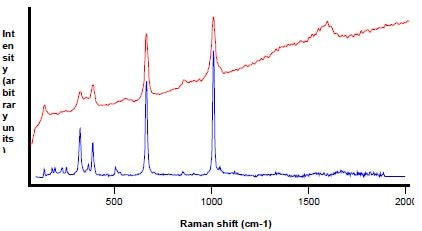 Raman analysis (in red) of particle shown in Figure 12, diopside reference in blue