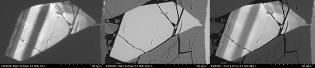 Zonation study in coarse grained syenite with alkali feldspar. From left – CL image showing zonation, BSE image showing composition contrast and Mixed (CL + BSE) image recorded simultaneously