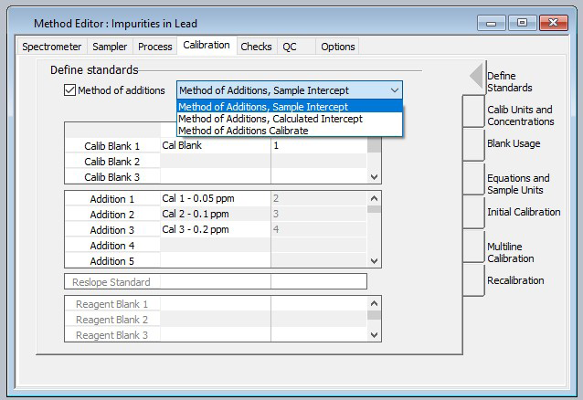The Method Editor in Syngistix™ software provides a check box to enable method of additions along with pull-down selection of sample intercept, calculated intercept and calibrate calibrations schemes.