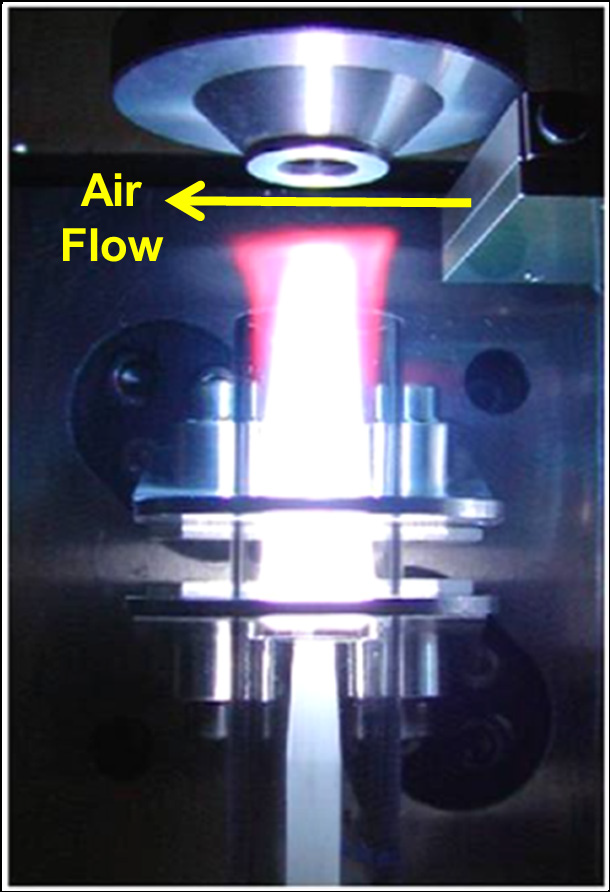 PlasmaShear technology in the Avio 550 Max ICP-OES cutting off the top of the plasma, preventing deposition on the interface window.