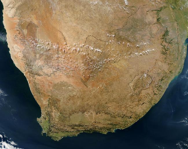 Satellite view of South Africa's Great Karoo semi-desert region.