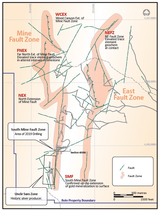 A Bolo property map showing the relative locations of the South Mine Fault Zone and the Uncle Sam Zone.