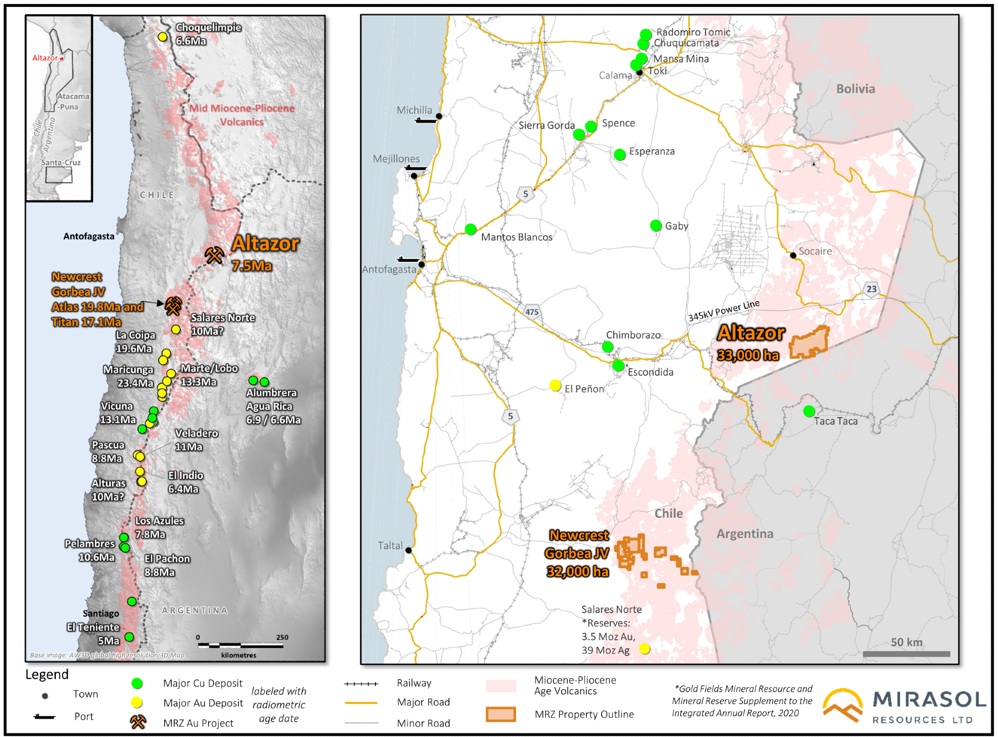 Mirasol Resources Offers Updates on Altazor and Gorbea Gold Projects in Chile.