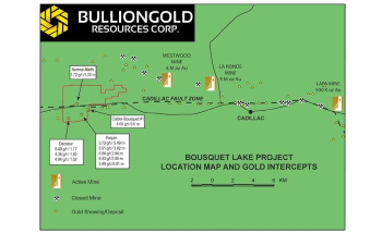 Bullion Gold Signs Option Agreement to Completely Acquire Bousquet Property