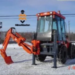 MineMaster R20S:  Mine Utility Vehicle with Rotating Backhoe and Scraper Blade